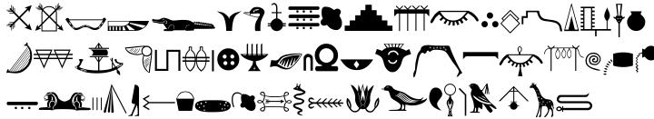 Egyptian Hieroglyphics Basic Font Sample