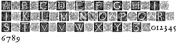 1585 Flowery Font Sample