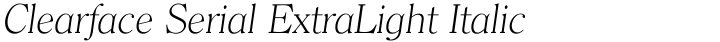 Clearface Serial ExtraLight Italic