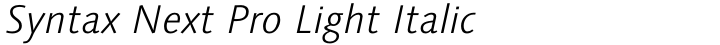 Syntax Next Pro Light Italic