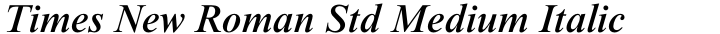 Times New Roman Std Medium Italic