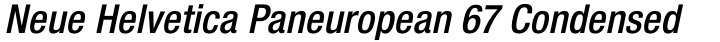 Neue Helvetica Paneuropean 67 Condensed Medium Oblique
