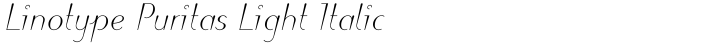 Linotype Puritas Light Italic